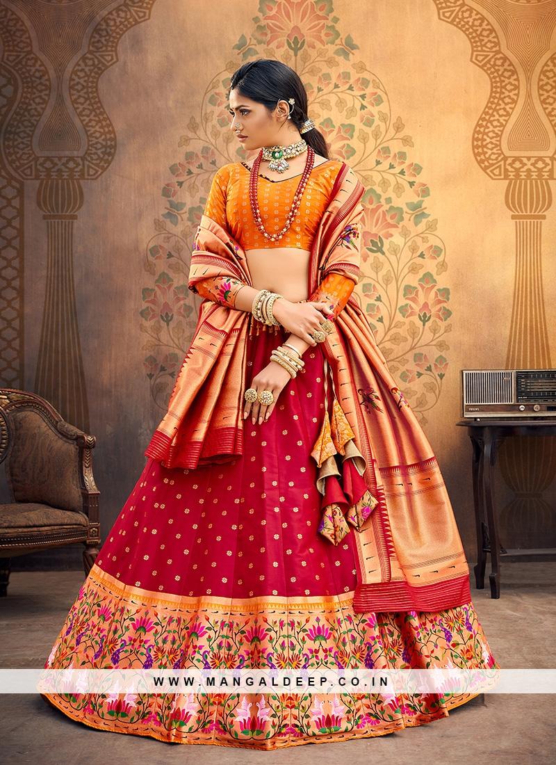 Sangeet Function Wear Red Color Designer Lehenga Choli