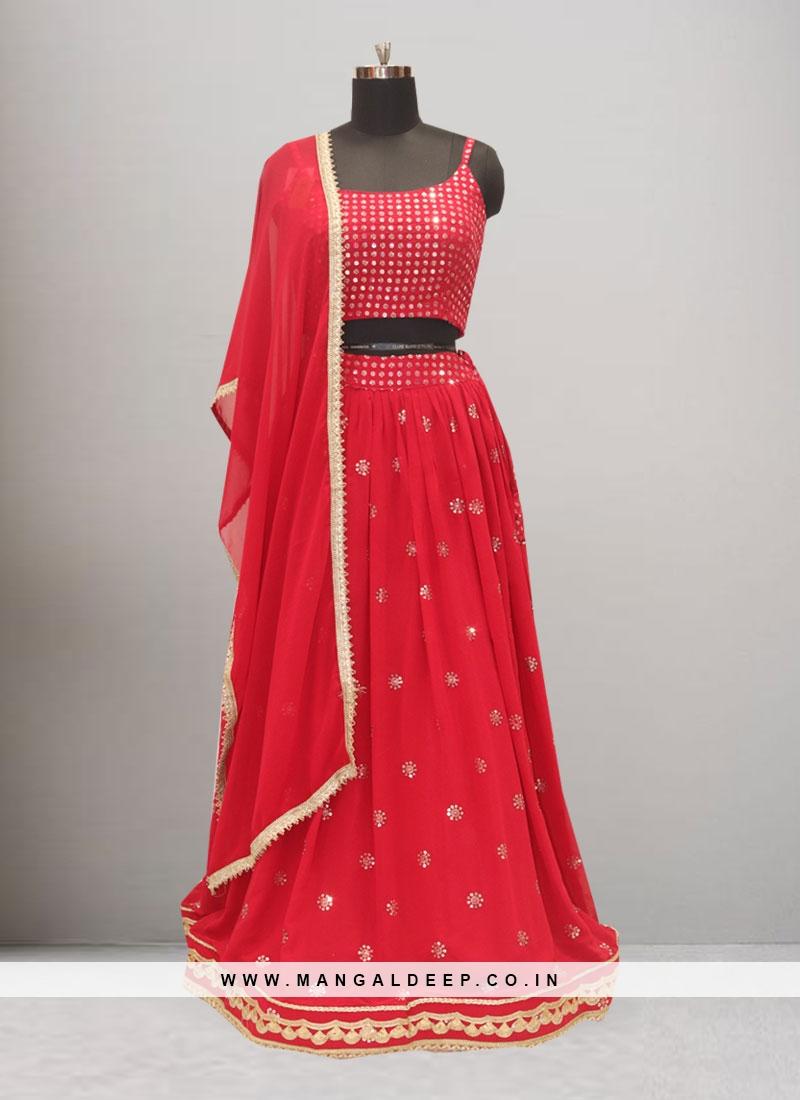 Sangeet Function Wear Red Color Lehenga Choli