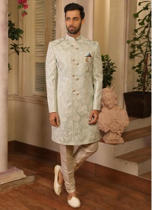 Sangeet Function Wear Sea Green Color Jacquard Indo Western Suit