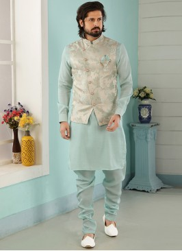 Sangeet Function Wear Sky Blue Color Kurta Pajama With Jacket