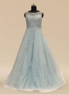 Sangeet Function Wear Sky Blue Color Net Gown