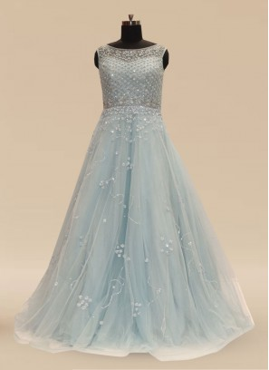 Sangeet Function Wear Sky Blue Color Net Gown
