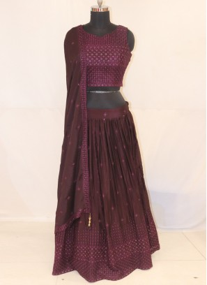 Sangeet Function Wear Wine Color Lehenga Choli