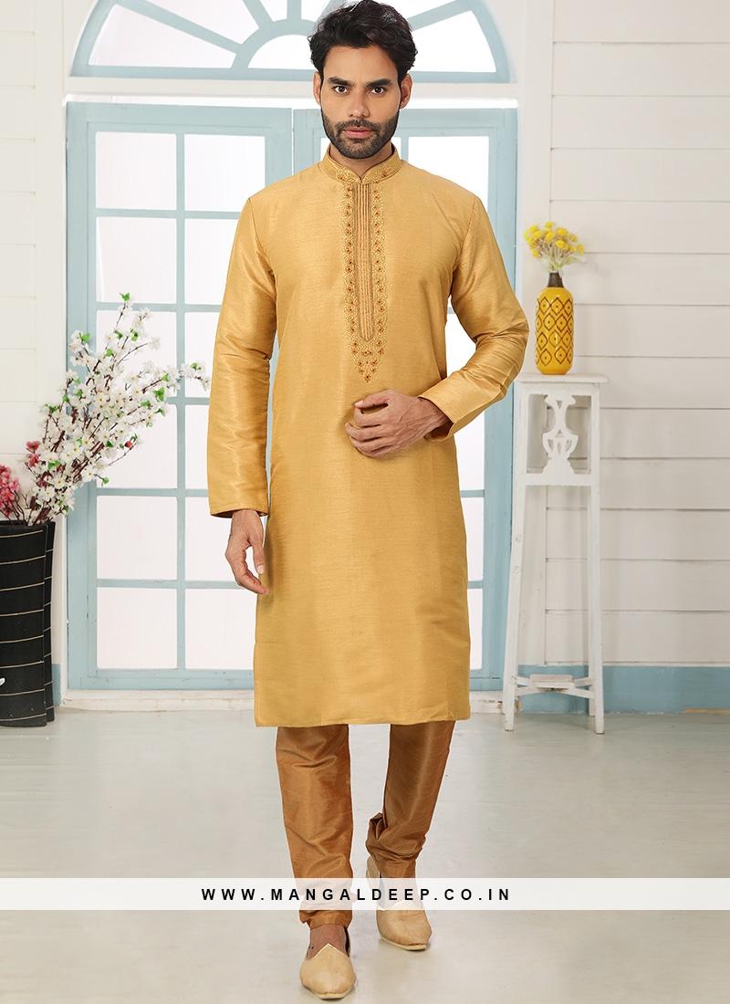 Sangeet Function Wear Yellow Color Designer Kurta Pajama