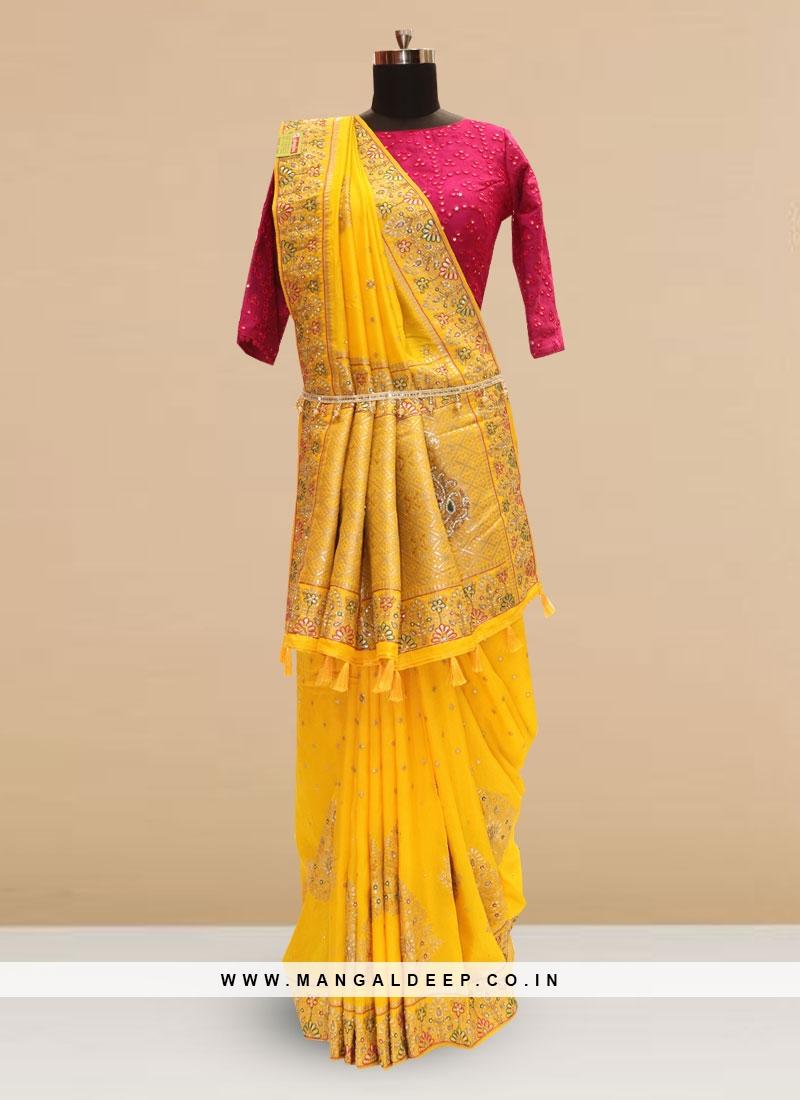 Sangeet Function Wear Yellow Color Designer Saree
