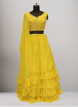 Sangeet Function Wear Yellow Color Lehenga Choli