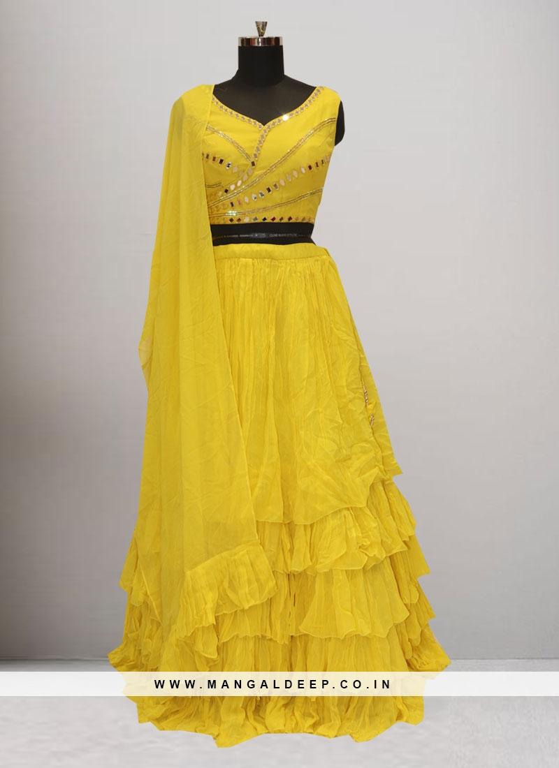 Sangeet Function Wear Yellow Color Lehenga Choli