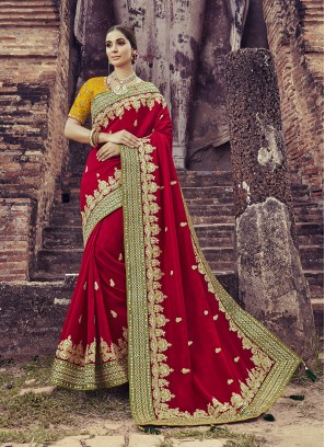 Satin Silk Embroidred Saree In Red