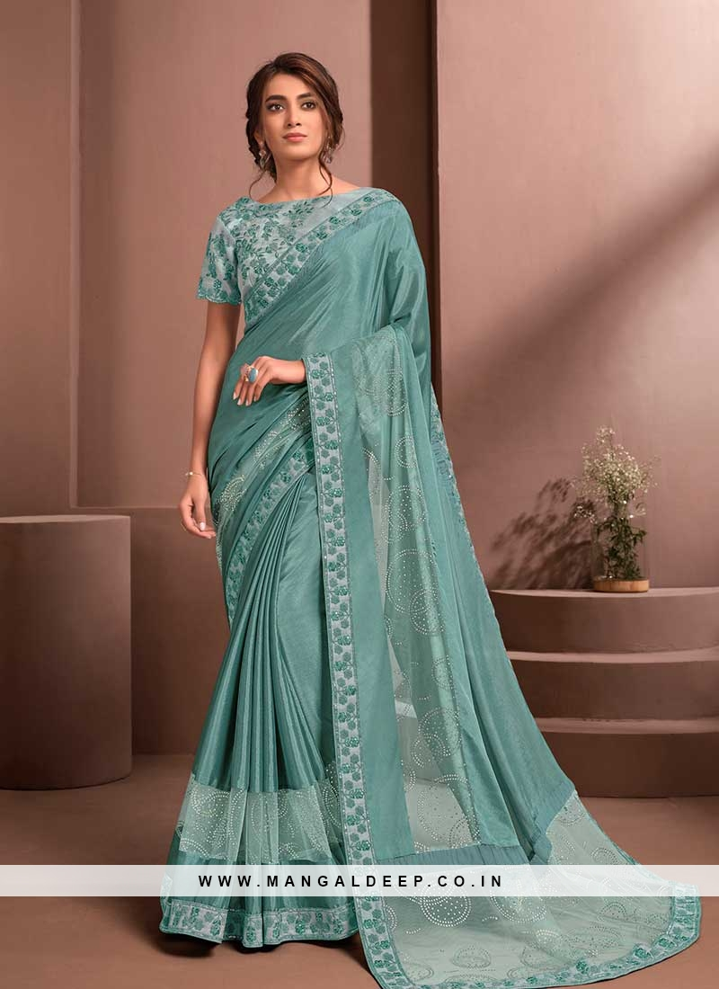 Sea Blue Color Saree With Readymade Blouse
