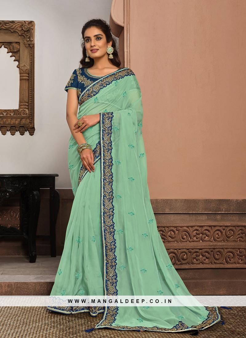 Sea Blue Color Tissue Fabric Awesome Saree