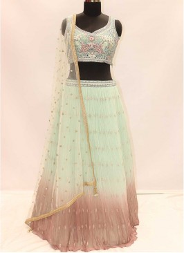 Sea Green And Pink Color Georgette Lehenga