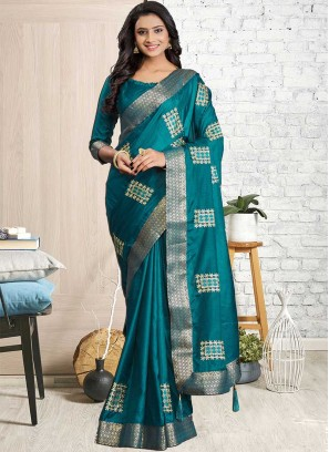 Sea Green Color Cotton Silk Saree For Girl