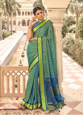Sea Green Color Digital Print Patola Saree