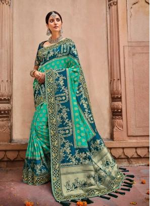 Sea Green Color Dolla Silk Saree
