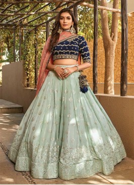 Sea Green Color Fancy Fabric Latest Design Lehenga