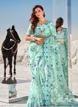 Sea Green Color Heavy Work Net Saree
