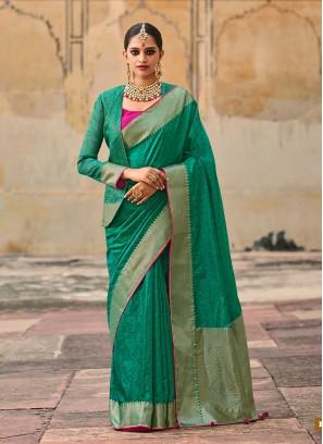 Sea Green Color Jacquard Silk Saree
