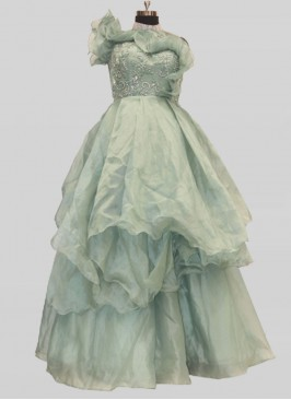 Sea Green Color Sequins Work Women Gown