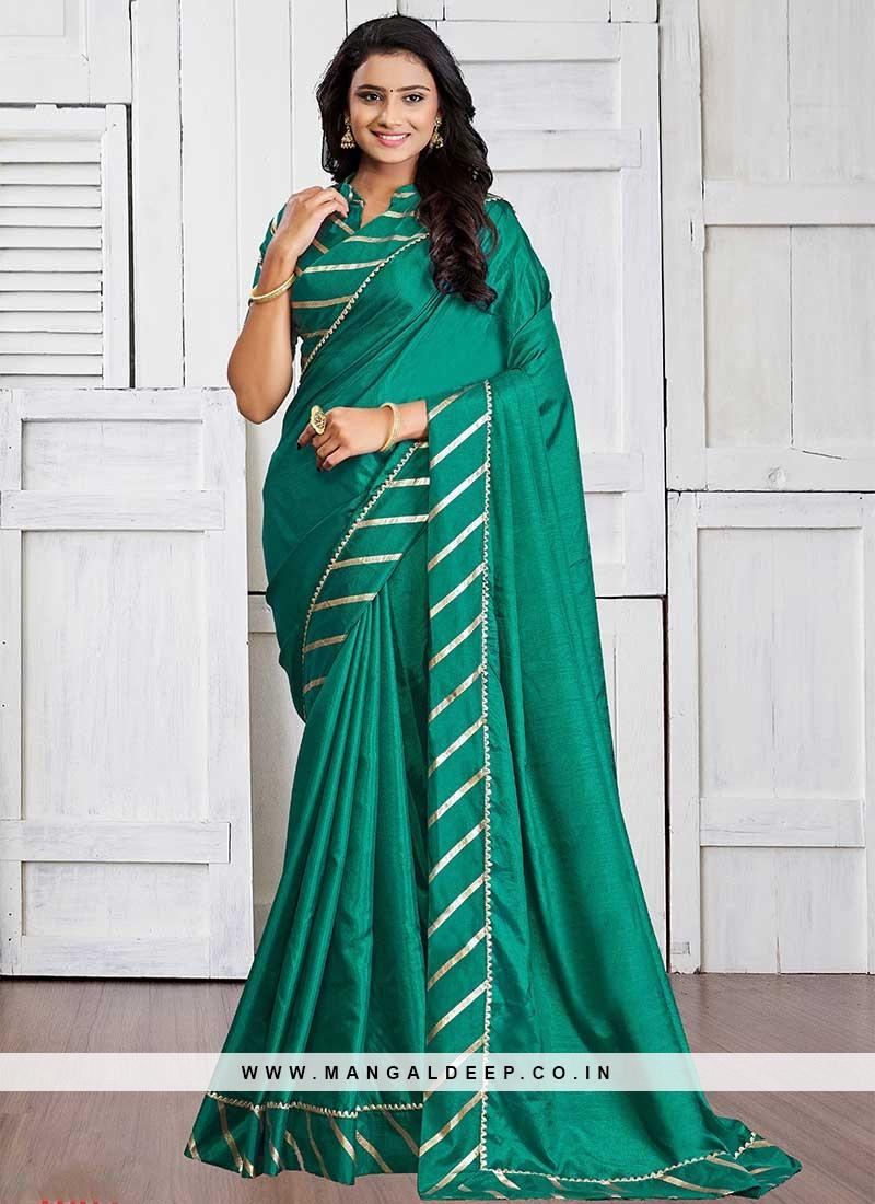 Sea Green Color Silk Casual Wear Saree