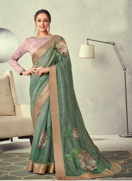 Sea Green Color Silk Embroidered Saree