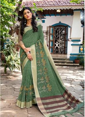 Sea Green Color Silk Fancy Saree