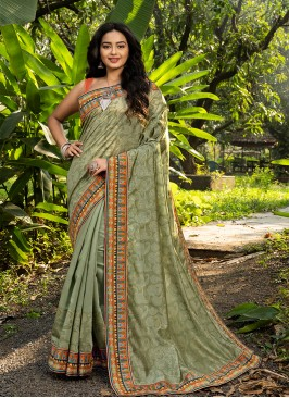 Sea Green Color Silk New Design Saree