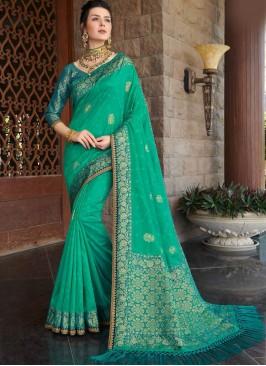 Sea Green Color Silk Stylish Saree