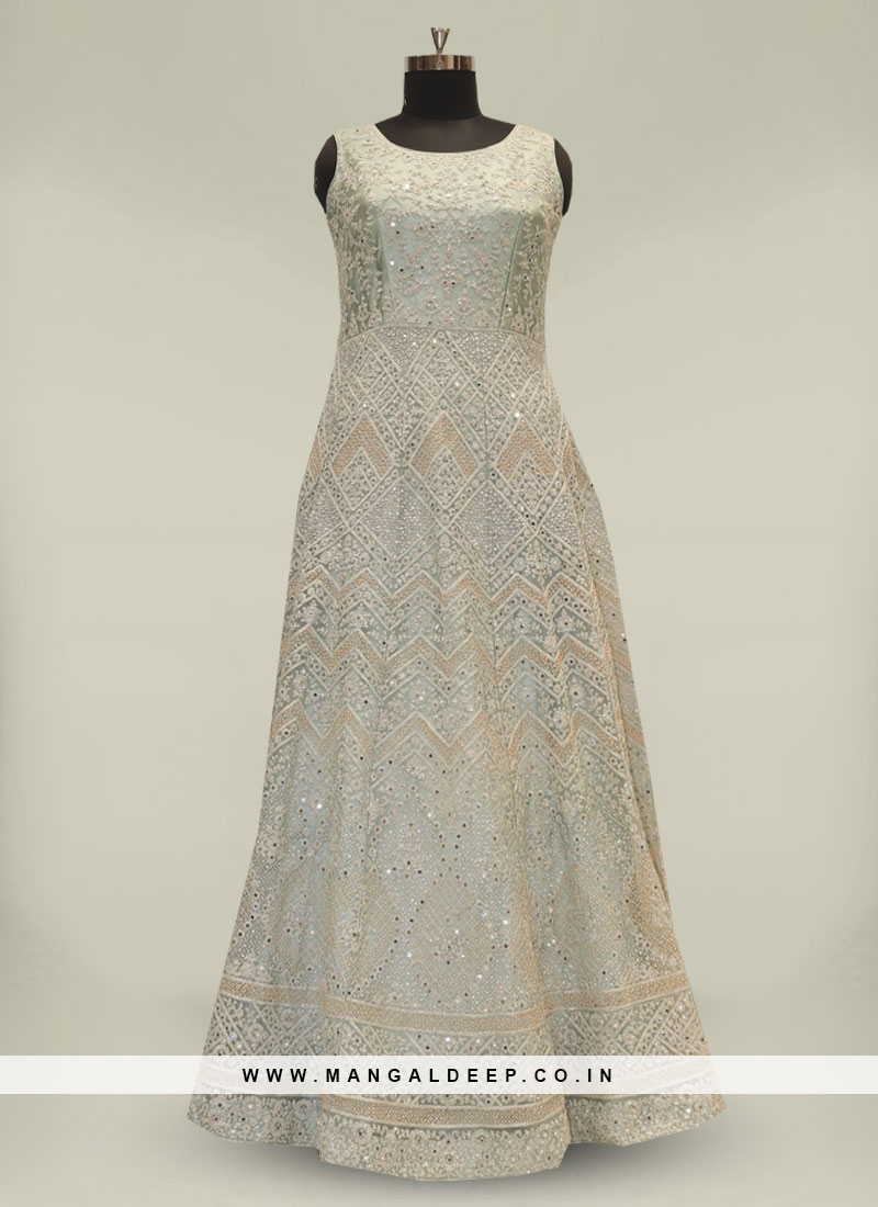 Sea Green Mirror Work Net Indian Gown