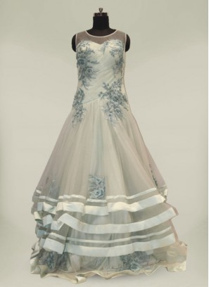 Sea Green Net Resham Work Marriage Dress For Girls