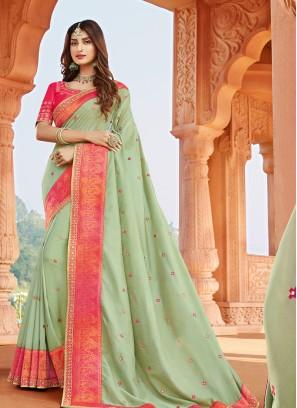 Sea Green Silk Party Wear Saree