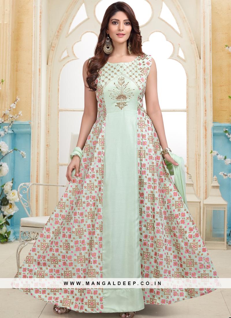 Sea Green Weaving Printed Designer Party Wear Readymade Anarkali Suit
