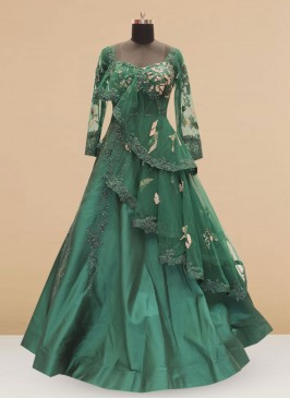 Silk Function Wear Designer Gown In Green Color