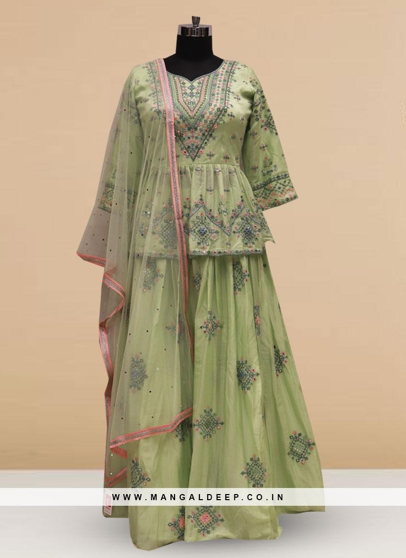 Silk Function Wear Green Color Embroidered Lehenga Choli