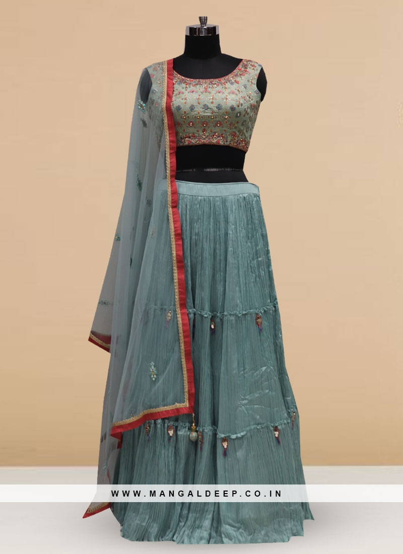 Silk Function Wear Sky Blue Color Embroidered Lehenga Choli