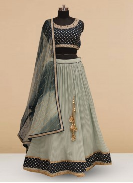 Silk Function Wear Sky Blue Color Embroidered Lehenga Choli