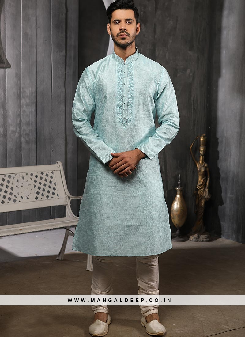 Silk Function Wear Sky Blue Color Kurta Pajama
