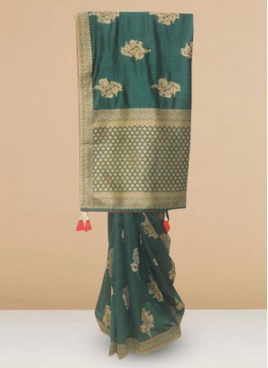 Silk Lovely Green Color Designer Saree