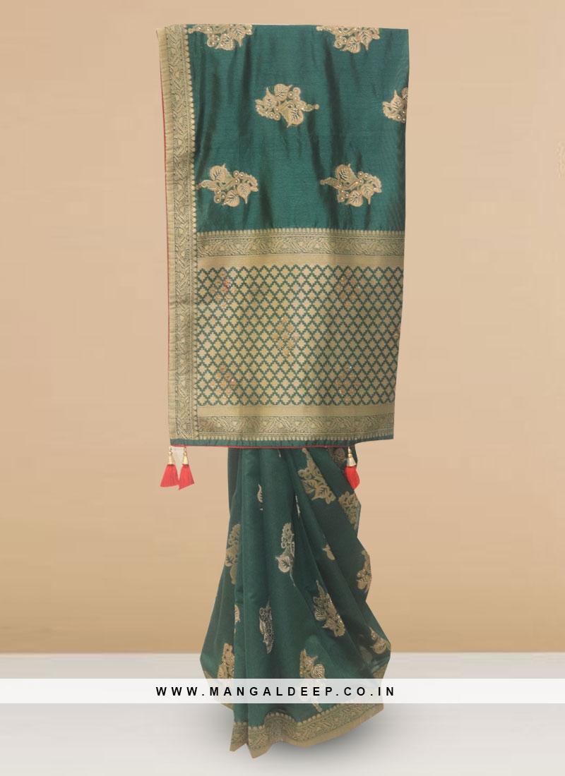 Silk Lovely Green Color Designer Saree
