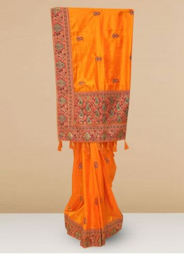 Silk Lovely Orange Color Designer Saree