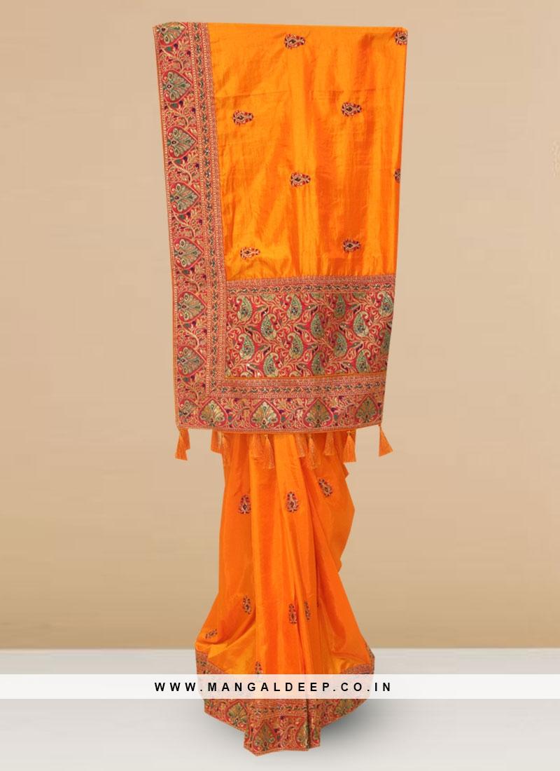 Silk Lovely Orange Color Designer Saree