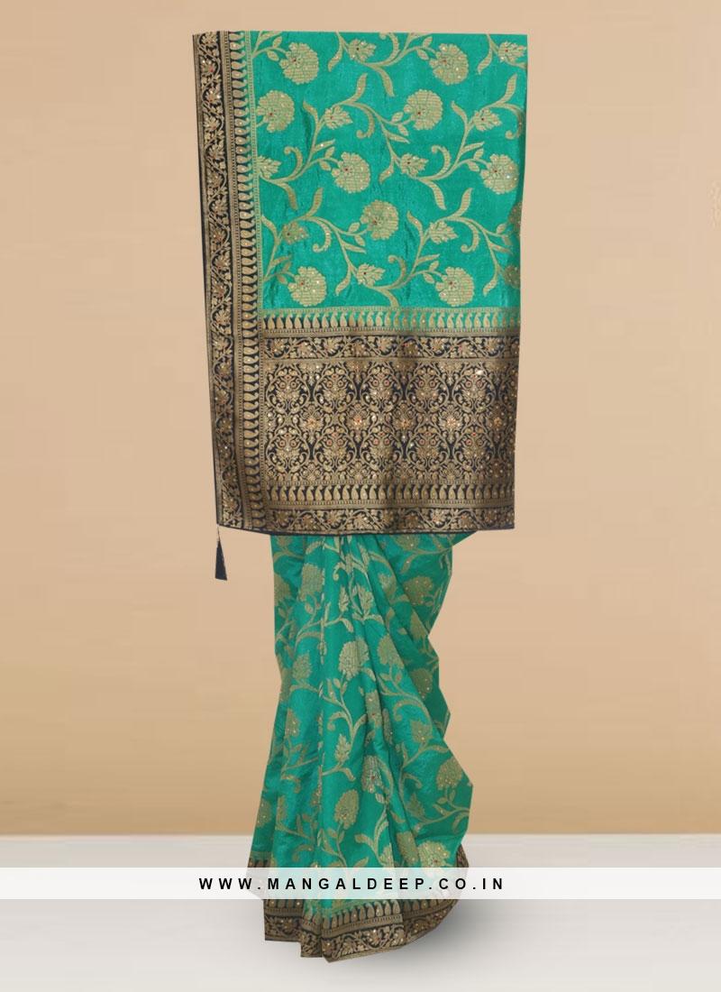 Silk Lovely Sky Blue Color Designer Saree