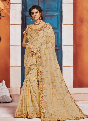 Silk Party Wear Beige Color Embroidered Saree