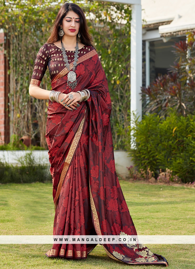 Silk Saree Blouse In Maroon Color