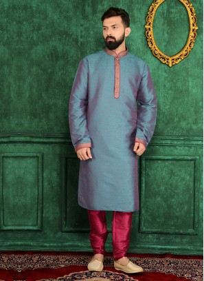 Sky Blue And Rani Silk Kurta Pajama