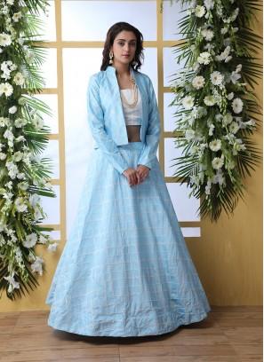 Sky Blue Color Art Silk Lehenga With Koti