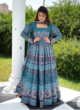 Sky Blue Color Chanderi Printed Long Gown