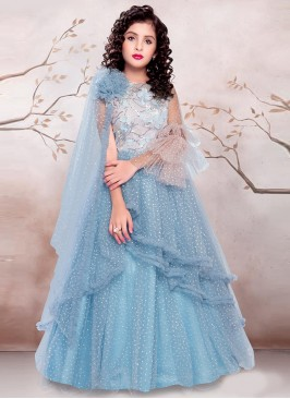 Sky Blue Color Designer Gown For Kids