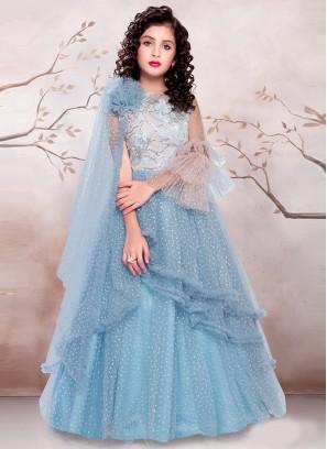 Sky Blue Color Designer Gown For Kids