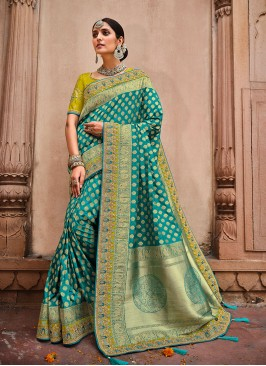 Sky Blue Color Indian Wedding Saree