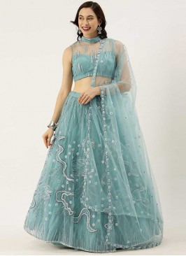 Sky Blue Color Net Festive Wear Lehenga